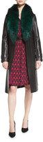 Diane von Furstenberg Valinda Leather Trench Coat w/Fur Collar, Black