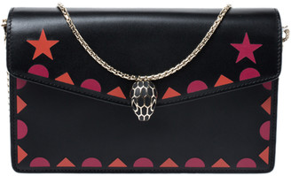 Bvlgari Black Leather Patch Details Serpenti Forever Chain Clutch