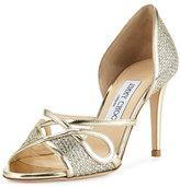 Jimmy Choo Trixie Glitter d'Orsay 85mm Sandal, Champagne