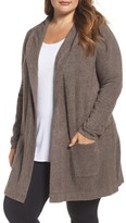 Plus Size Women's Barefoot Dreams Cozychic Lite Coastal Hooded Cardigan