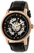 Reign Belfour Automatic Skeleton Dial Leather Watch, 44mm