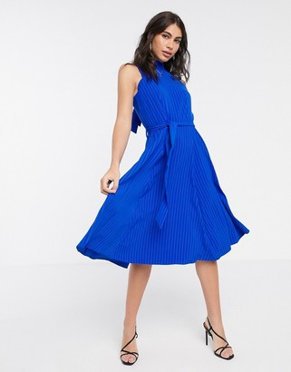 Closet London high neck skater dress in cobalt