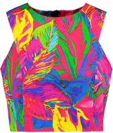 Milly Cropped printed stretch cotton-blend top