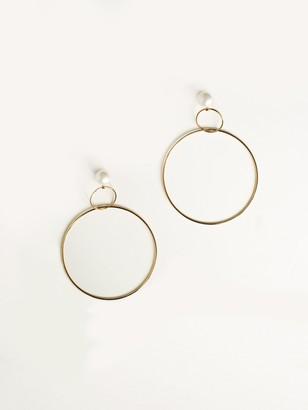 NATASHA SCHWEITZER Double Drop Hoops With Pearl - Gold
