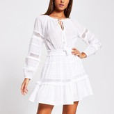 Thumbnail for your product : River Island Womens White mesh insert smock beach dress