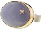 Jamie Joseph Oval Purple Jade Ring with Diamond