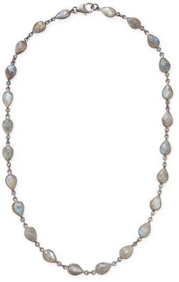 Adornia Fine Jewelry Labradorite and Silver Bezeled Station Necklace