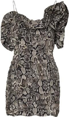 Magda Butrym Snake-Print Off-The-Shoulder Mini Dress