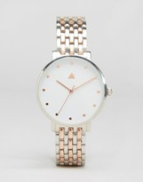 Asos Boyfriend Silver & Rose Gold Clean Metal Watch
