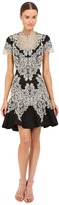Marchesa Stretch Crepe Fitted Cocktail with Flared Skirt Gold Beaded Appliques and Cut Out Details Women's Dress