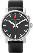Mondaine Evo Alarm Stainless Steel And Leather Watch - Black