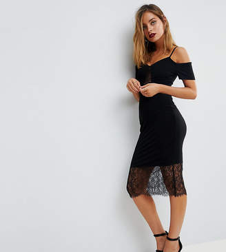 Asos Cold Shoulder Slinky Pencil Dress with Lace Insert-Black
