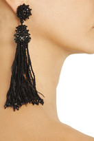 Oscar de la Renta Bead, crystal and feather tasseled clip earrings