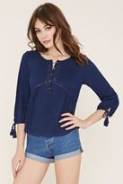 Forever 21 Embroidered Slub Knit Top