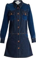 See by Chloe Velvet-panel long-sleeved denim dress