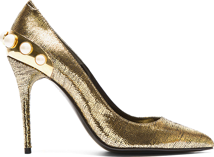Alexander McQueen Metallic Gold Pearl Pumps