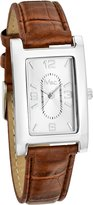 MC M&c Men's Classic Brown PU Leather Band Small Rectangle Watch