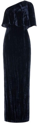 Adrianna Papell One shoulder crushed velvet maxi dress