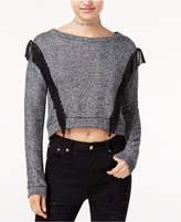 The Edit By Seventeen Juniors' Fringe-Trim Marled Cropped Sweatshirt