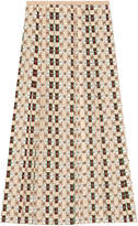 Gucci Silk skirt with Web kisses print