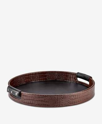 GiGi New York Round Leather Tray In Brown Crocodile Embossed Leather