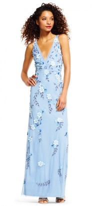 Adrianna Papell Women's Beaded Gown with Cascade Motif and Plunging V Neckline