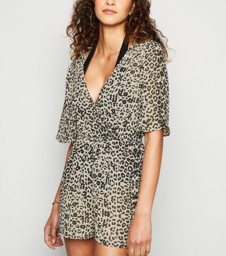 New Look Influence Leopard Wrap Beach Playsuit