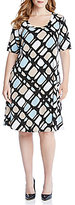 Karen Kane Plus A-Line Short Sleeve Printed Dress