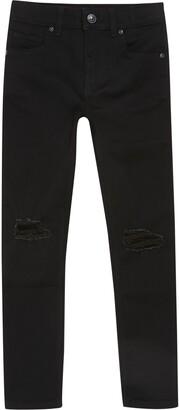 River Island Boys Black Danny ripped skinny jeans