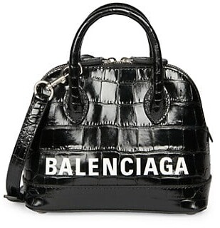 Balenciaga Extra Extra-Small Ville Croc-Embossed Leather Top Handle Bag
