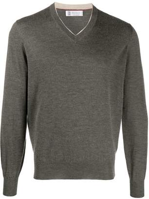 Brunello Cucinelli cashmere and silk blend V-neck jumper