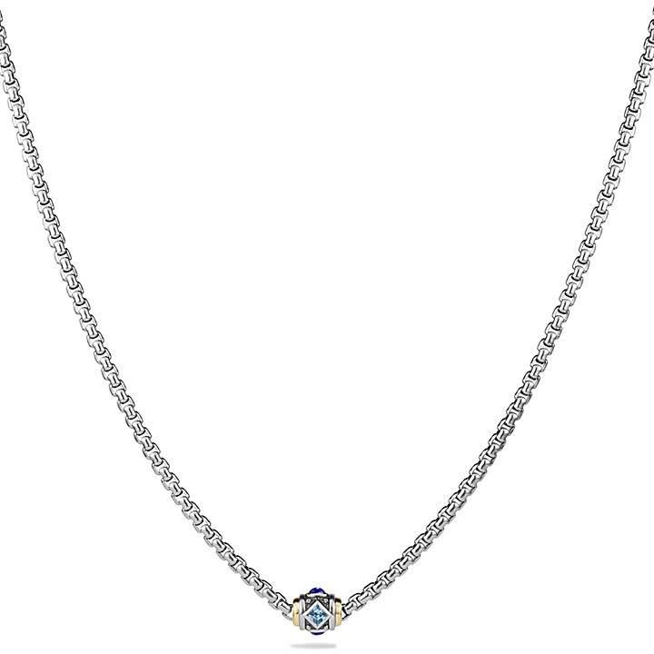 David Yurman Renaissance Necklace with Blue Topaz, Lapis Lazuli and 18K Gold