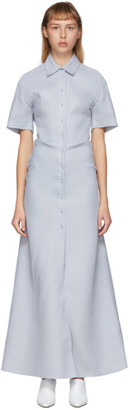 Off-White Blue Linen Long Shirt Dress