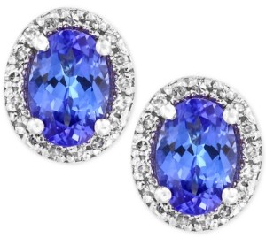 Effy Tanzanite Royale by Tanzanite (7/8 ct. t.w.) Diamond (1/8 ct. t.w.) Stud Earrings in 14k White Gold, Created for Macy's