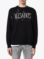AllSaints Destroy Saints Distressed Knit Jumper, Black