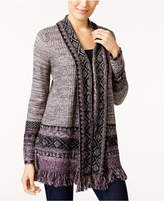 Style&Co. Style & Co Petite Jacquard Fringe Cardigan, Created for Macy's