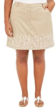 Karen Scott Plus Size Floral Embroidered Skort, Created for Macy's