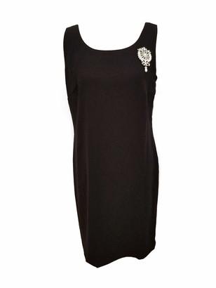 MSK Women's Scoop Neck Silver Brooch Pin Cocktail Shift Dress Black Nude 8