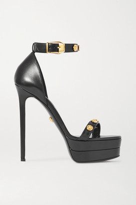Versace Embellished Leather Platform Sandals - Black