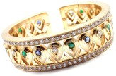 Cartier 18K Yellow Gold Diamond Sapphire Emerald Cuff Bangle Bracelet