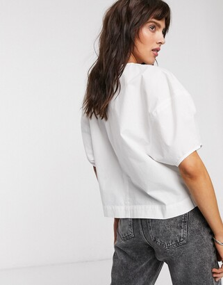 Weekday Flo balloon sleeve blouse in off