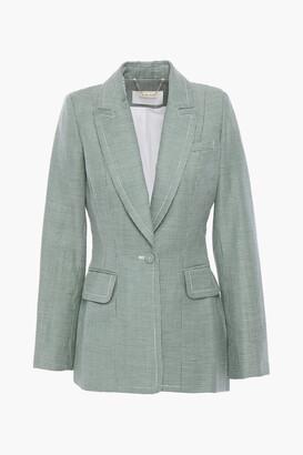 Zimmermann Houndstooth Linen And Wool-blend Blazer