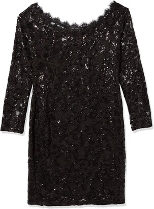 Marina Women's Long Sleeve Sequin Cocktail Dress
