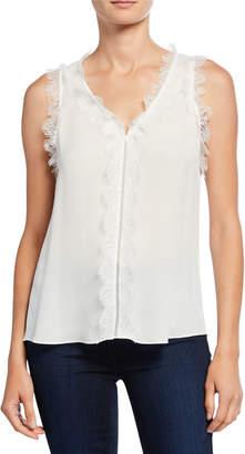 Kobi Halperin Evelyn V-Neck Sleeveless Silk Blouse with Lace