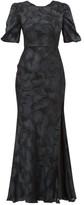Saloni Annie Floral-jacquard Silk-blend Dress - Womens - Black