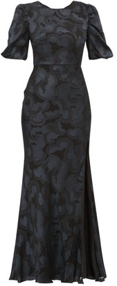 Saloni Annie Floral-jacquard Silk-blend Dress - Black