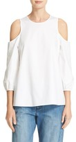 Tibi Women's Satin Poplin Cold Shoulder Top