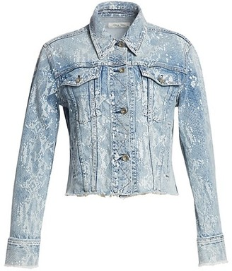 Rag & Bone Cut-Off Python Print Denim Jacket