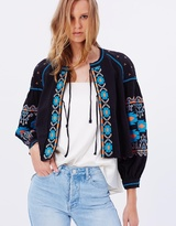 Free People Embroidered Swingy Jacket
