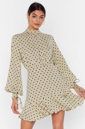 Nasty Gal Womens It's Dot Over High Neck Mini Dress - Green - 4, Green